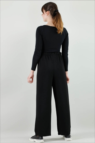 Aerobin Bol Paça Pantolon Siyah - Thumbnail