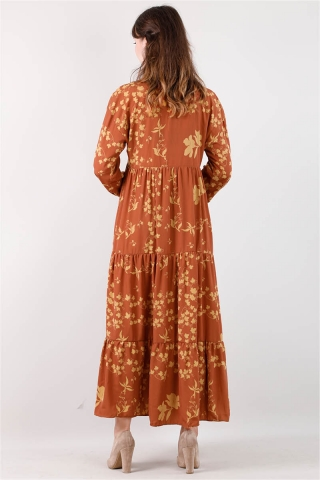 Bahar Desenli Elbise Kiremit - Thumbnail