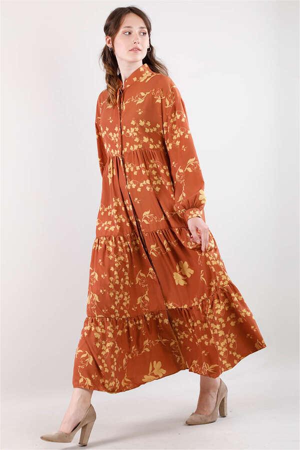 Bahar Desenli Elbise Kiremit