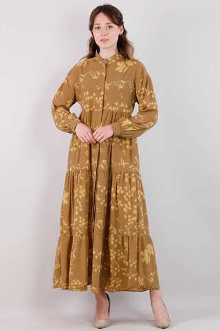 Zulays - Bahar Desenli Elbise Koyu Hardal