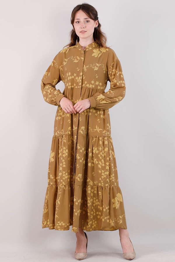 Bahar Desenli Elbise Koyu Hardal