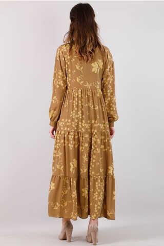 Bahar Desenli Elbise Koyu Hardal - Thumbnail