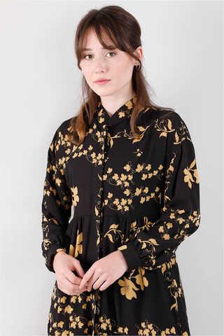 Bahar Desenli Elbise Siyah - Thumbnail