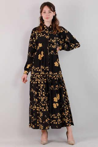 Zulays - Bahar Desenli Elbise Siyah
