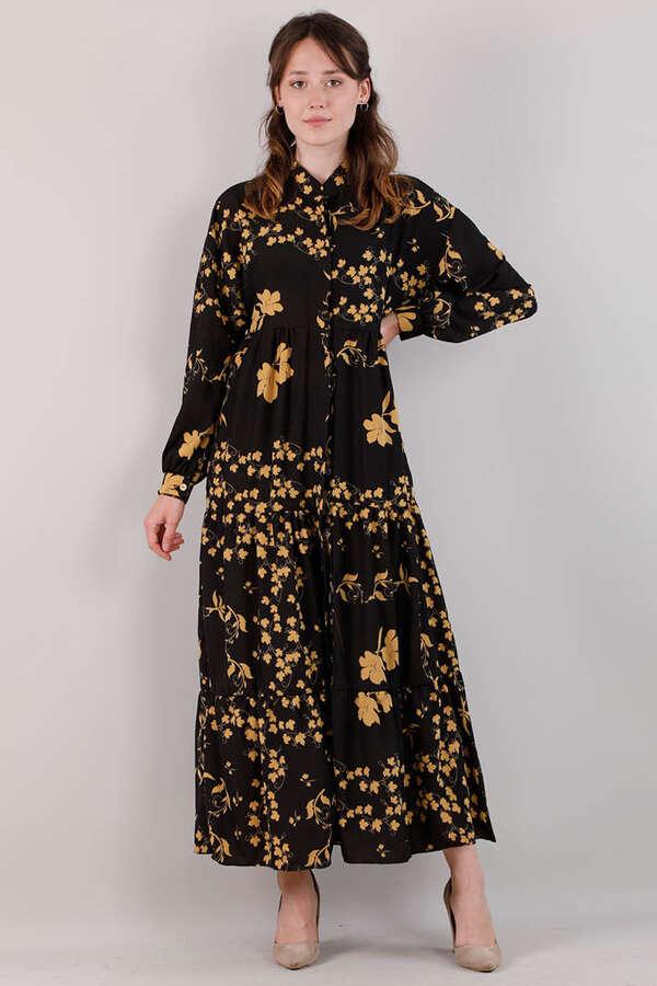 Bahar Desenli Elbise Siyah