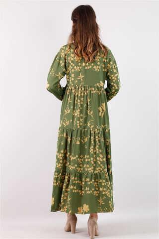 Bahar Desenli Elbise Yeşil - Thumbnail
