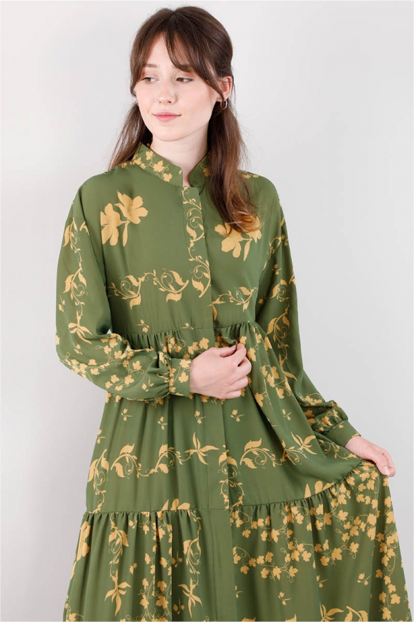 Bahar Desenli Elbise Yeşil