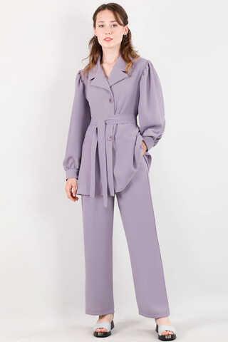 Zulays - Balon Kol Ceket Pantolon Takım Açık Lila