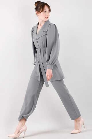Balon Kol Ceket Pantolon Takım Gri - Thumbnail