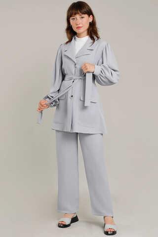 Zulays - Balon Kol Ceket Pantolon Takım Gümüş