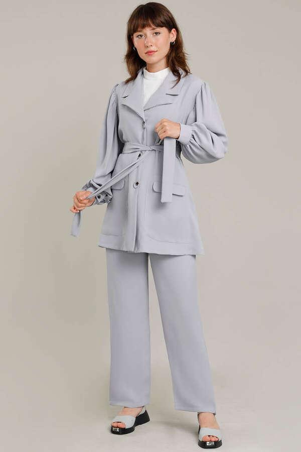 Balon Kol Ceket Pantolon Takım Gümüş