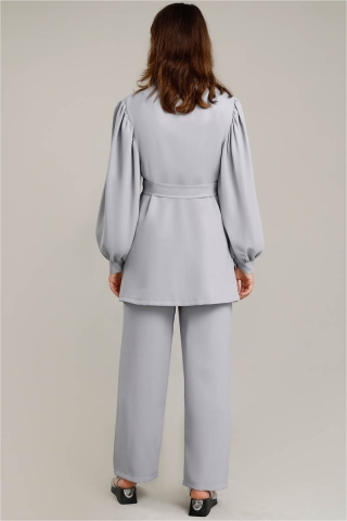Balon Kol Ceket Pantolon Takım Gümüş - Thumbnail