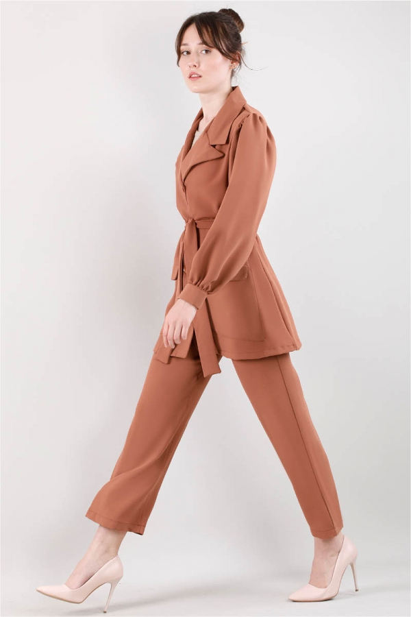 Balon Kol Ceket Pantolon Takım Şeftali