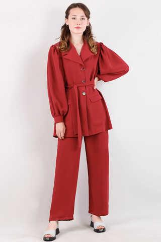 Zulays - Balon Kol Ceket Takım Kırmızı