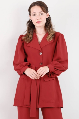 Balon Kol Ceket Takım Kırmızı - Thumbnail