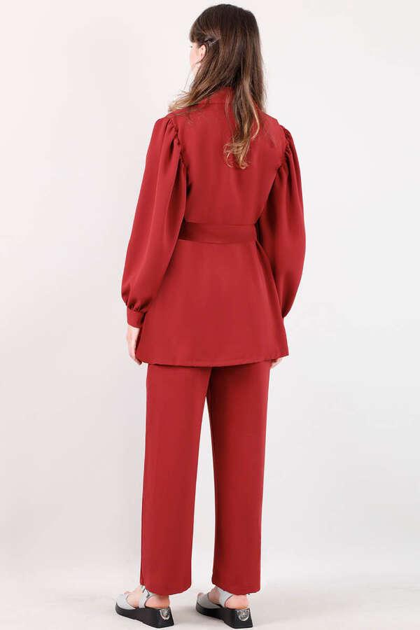 Balon Kol Ceket Takım Kırmızı