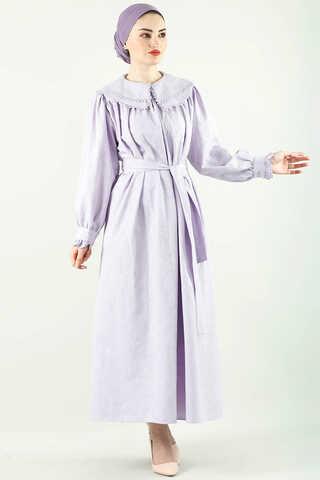 Çift Yaka Bol Kesim Elbise Lila - Thumbnail
