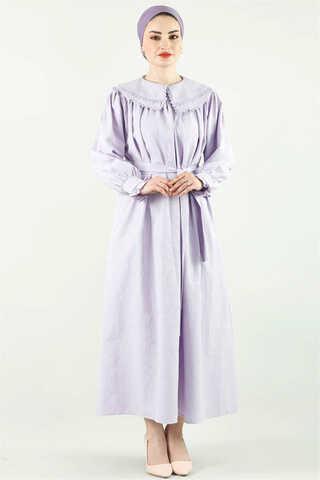 - Çift Yaka Bol Kesim Elbise Lila