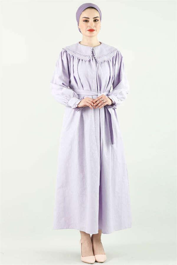 Çift Yaka Bol Kesim Elbise Lila