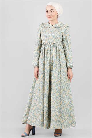 - Bebe Yaka Çiçekli Elbise Çağla Yeşili
