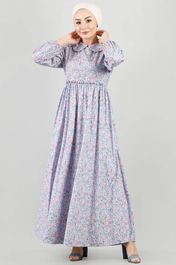 Bebe Yaka Çiçekli Elbise Lila