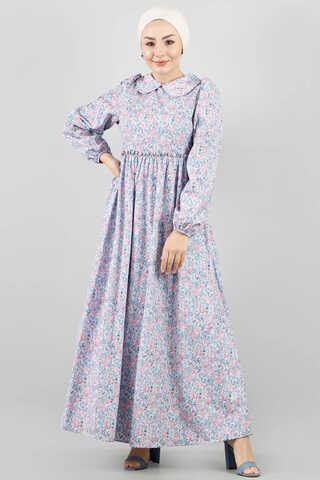 - Bebe Yaka Çiçekli Elbise Lila