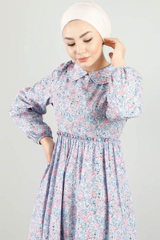 Bebe Yaka Çiçekli Elbise Lila - Thumbnail