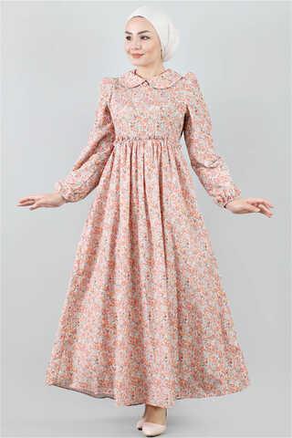 - Bebe Yaka Çiçekli Elbise Somon