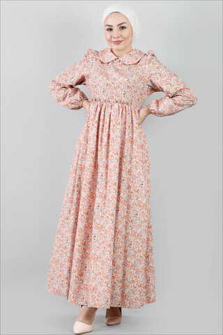 Bebe Yaka Çiçekli Elbise Somon - Thumbnail