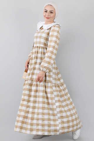 - Bebe Yakalı Elbise Bej