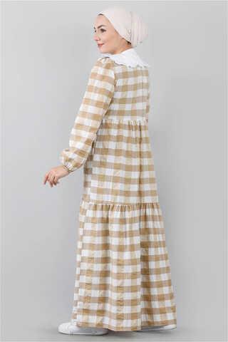 Bebe Yakalı Elbise Bej - Thumbnail