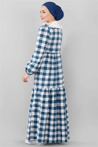 Bebe Yakalı Elbise Mavi - Thumbnail