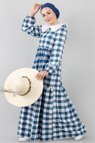 - Bebe Yakalı Elbise Mavi
