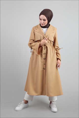 Zulays - Beli Bağcıklı Camel Trenç