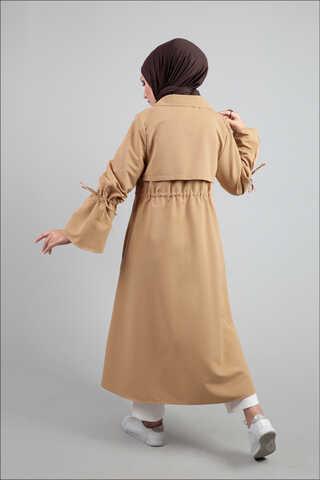Beli Bağcıklı Camel Trenç - Thumbnail