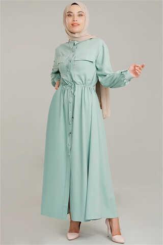 Zulays - Beli Büzgülü Elbise Su Yeşili