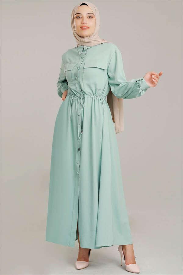Beli Büzgülü Elbise Su Yeşili