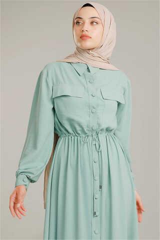 Beli Büzgülü Elbise Su Yeşili - Thumbnail