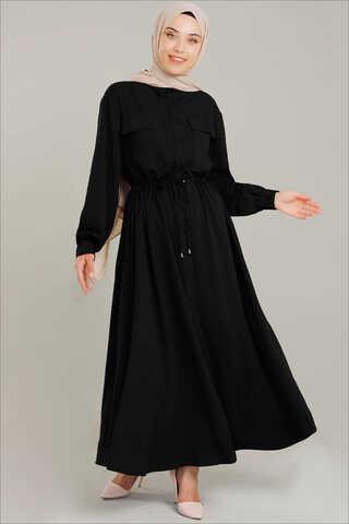 Zulays - Beli Büzgülü Elbise Siyah