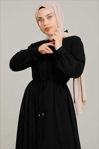 Beli Büzgülü Elbise Siyah - Thumbnail
