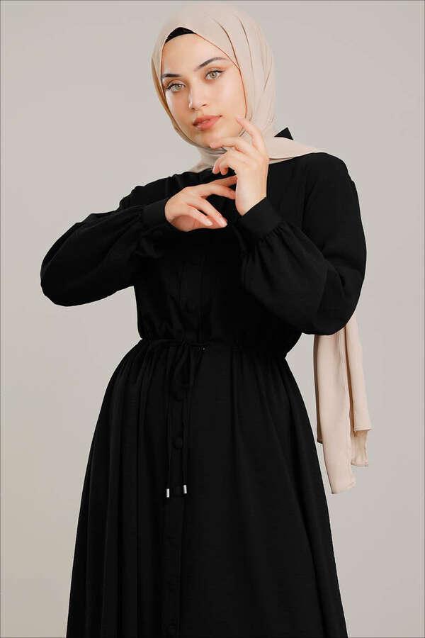 Beli Büzgülü Elbise Siyah