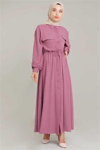 Zulays - Beli Büzgülü Elbise Gül Kurusu