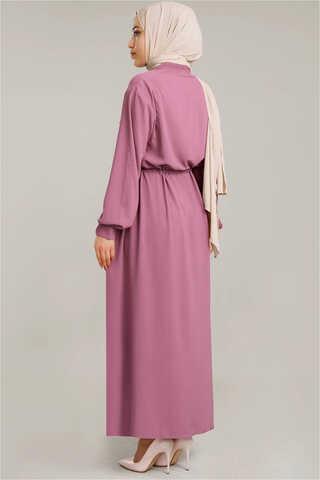 Beli Büzgülü Elbise Gül Kurusu - Thumbnail