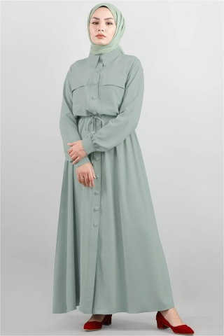 Zulays - Beli Büzgülü Elbise Mint