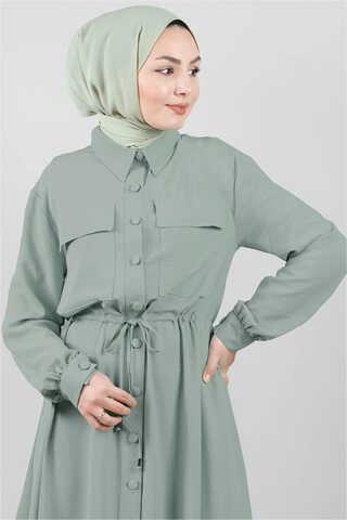 Beli Büzgülü Elbise Mint - Thumbnail