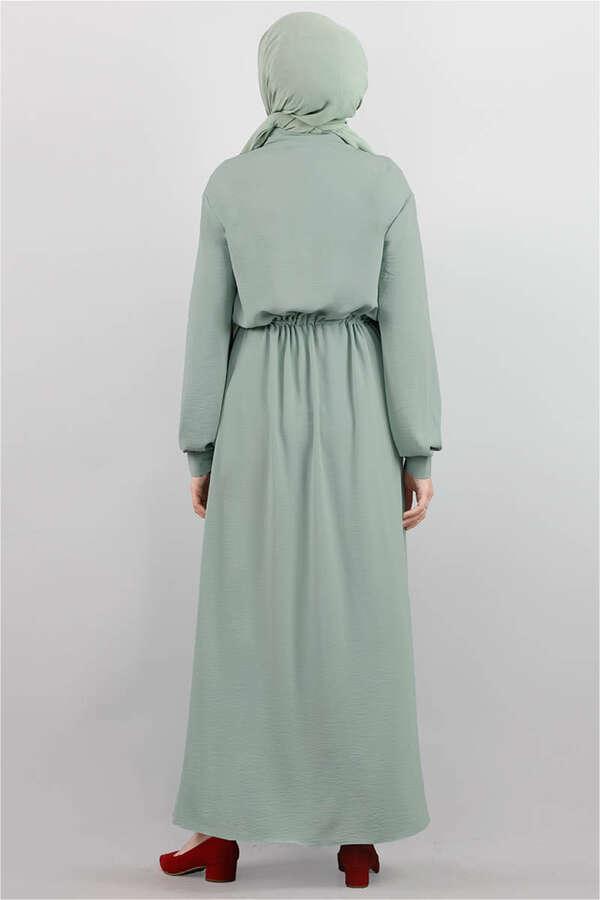Beli Büzgülü Elbise Mint