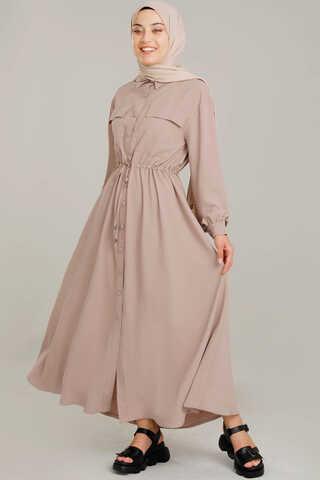 Zulays - Beli Büzgülü Elbise Vizon