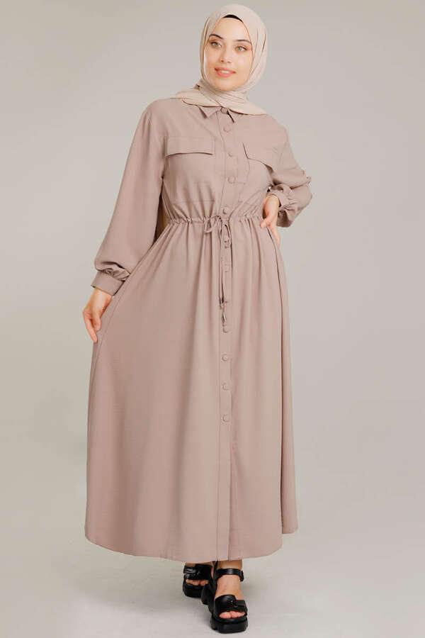 Beli Büzgülü Elbise Vizon