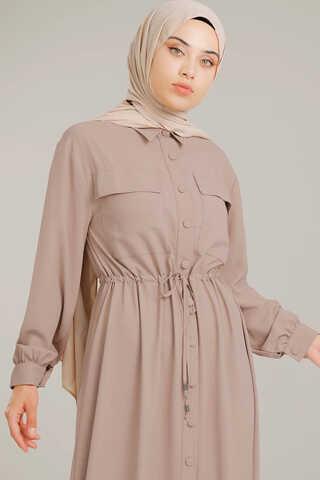 Beli Büzgülü Elbise Vizon - Thumbnail