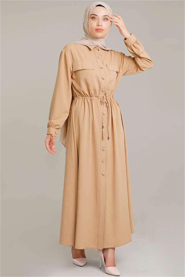Beli Büzgülü Elbise Camel